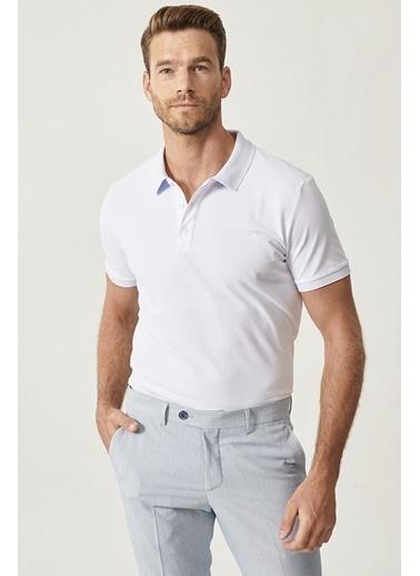Altınyıldız Classics Polo Yaka Cepsiz Slim Fit Dar Kesim %100 Koton Düz Tişört 4A4820200001 Beyaz